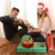 Young Happy Couple Champagne Christmas toast — Stock Photo #35083223