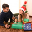 Young Happy Couple Champagne Christmas toast — Stock Photo