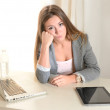 Stock Photo: Young Business Woman boring at work