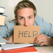Young Student Overwhelmed asking for Help — Stock Photo #35989791