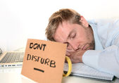Young Student Overwhelmed Dont Disturb — Stock Photo