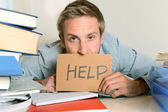 Young Student Overwhelmed asking for Help — Stock Photo