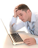 Stressed and Overworked Businessman with headache — Stock Photo