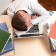 Stressed and Overworked Businessman sleeping — Stockfoto