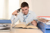 Overwhelmed Student pointing Gun to his Head — Stock Photo