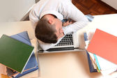 Stressed and Overworked Businessman sleeping — Stock Photo