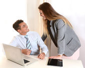 Young Business Woman and Handsome Man working at Office — Stock Photo