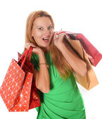 Young attractive woman going shopping — Stok fotoğraf
