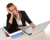 Young Business Woman overworked — Stock Photo