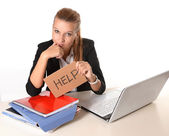 Young Attractive Woman asking for help — Foto Stock