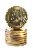A stack of one Euro coins — Foto de Stock