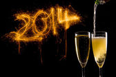 Champagne Glasses for celebrating new year — Stock Photo