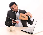 Businessman overworked at office — Stock Photo