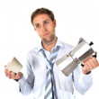 Stock Photo: Messy business mwith hangover holding coffee pot