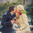 Couple with a rose kissing on valentines day — Stock Photo #39404077