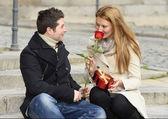 Romantic couple in love celebrating anniversary — Stock Photo