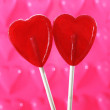 Couple of red heart shape lollipops in love concept — Stock Photo #39761235