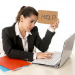 Busy business woman working on her laptop help sign — Stock Photo #40344187