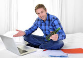 Business man or student working and studying with computer — Stock Photo