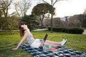 Mujer de pelo roja trabajando en equipo portátil en un parque — Foto de Stock