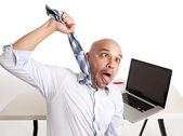 Blad latin businessman choking himself while getting over worked — Stock Photo