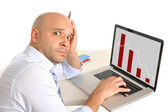 Worried business man in stress watching sales and finance collapse — Stock Photo