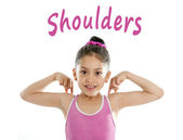 Learning english for children school card of girl pointing at her shoulder on white background — Stock Photo