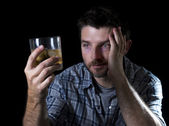alcoholic addict man drunk with whiskey glass in alcoholism concept — Stock Photo