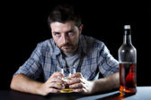 alcoholic addict man drunk with whiskey glass in alcoholism concept — Foto de Stock