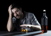 alcoholic addict man drunk with whiskey glass in alcoholism concept — ストック写真