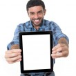 Man showing digital tablet in social network, blog, internet com — Stock Photo #51662855