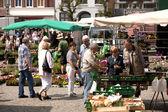 Rynku kwiatów i warzyw w husum, Szlezwik Holsztyn — Zdjęcie stockowe
