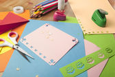 Craft table with crayons — Stock Photo