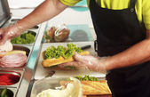 One at the fresh sandwich bar — Stock Photo
