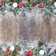 Wood background christmas snow — Stock Photo