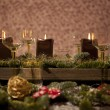 Christmas place setting with candles — Stock Photo