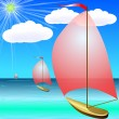 Boat on Blue Sea in Summer — Stock Vector