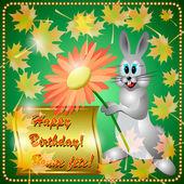 Birthday Greeting Card with Rabbit — Stock Vector