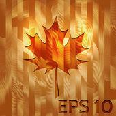 Maple Leaf on Hard Wood Texture — Stock Vector
