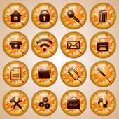 Set of 16 Round Glass Buttons Decorated for Autumn — Stock Vector