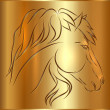 Vector Sketch Horse on Golden Background, Symbol of New Year — Stock Vector