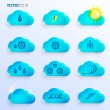 Light Blue Clouds with Weather Signs — Stock Vector