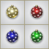 Vector Set of Four Christmas Decoration Balls With Stars — Stock Vector