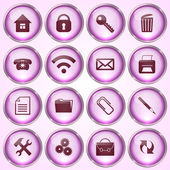 Vector Set of Pink Round Glass Buttons — Vettoriale Stock