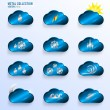 Blue Clouds with Weather Signs — Stock Vector