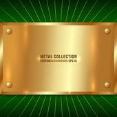 Vector Metallic Golden Plate — Stock Vector