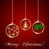 Vector Gold Decorative Christmas Greeting Card — Stock Vector