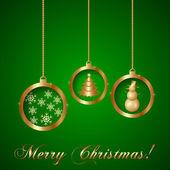 Tarjeta de felicitación de navidad decorativo vector oro — Vector de stock
