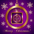 Vector Pink Violet Gold Decorative Christmas Greeting Card — Stock Vector #35852369