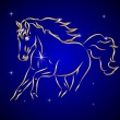 Vector Sketch of Horse in the Sky with Stars — Stock Vector